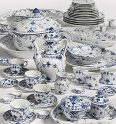 113 pieces A Royal Copenhagen 'blue fluted lace' part dinner and dessert service modern Royal Copenhagen, Blue Dishes, White Dishes, Blue And White China, Blue China, Blue And White Dinnerware, Blue Plates, Antique China, White Decor