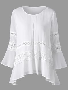 Lace Insert Bell Sleeve Sheer Blouse - WHITE 2XL
