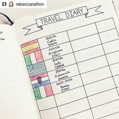 15 Creative Travel Bullet Journal Ideas - Wander Her Way Get ideas for the best travel journaling! A good part of the joy of travel is reading your travel journal years later! Bullet Journal Travel, Bullet Journal Ideas Pages, Bullet Journal Inspo, Bullet Journal Layout, My Journal, Journal Diary, Travel Journal Pages, Diary Book, Travel Journals