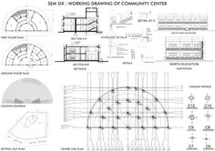 Working drawing of a community centre