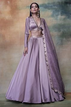 Excited to share this item from my shop: Lilac/ lavender designer lehenga skirt, blouse and mirror embroidered Dupatta Indian wedding lengha bridesmaids dress, indo western outfit Dress Indian Style, Indian Fashion Dresses, Indian Designer Outfits, Indian Wear, Red Indian, Indian India, Indian Suits, Pakistani Suits, Punjabi Suits