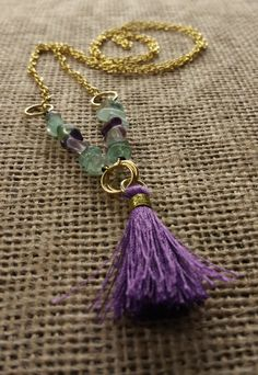 Bohemian Tassel Necklace with Genuine Rainbow Fluorite in Gold and Purple