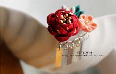 日本和风细工花簪 红色金箔牡丹吊片发夹边夹 BJD六分娃用花簪-淘宝网