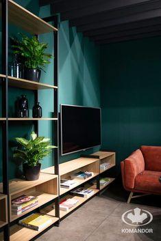 Living Room Green, Shelving, Bookcase, Flat Screen, Home Decor, Ideas, Blood Plasma, Homemade Home Decor, Shelves