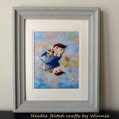 Needle felted picture Stevie and his cat gone by FunFeltByWinnie, $188.00