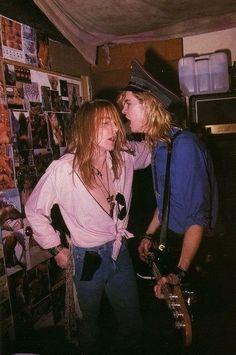 Axl Rose and Duff of Guns N' Roses, mid Axl Rose, Guns N Roses, Hard Rock, Rock N Roll, Metallica, Heavy Metal, 80s Hair Metal, Duff Mckagan, Slash