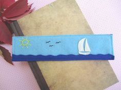 Handgemachte blau fühlte Bookmark mit Meer Segel von ExinaArt