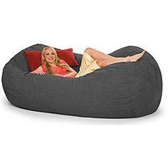 Slacker Sack 8-foot Oval Charcoal Grey Microfiber and Foam Bean Bag | Overstock.com on Wanelo