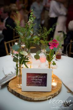 Sweet quotes about love are perfect #centerpiece decor. #tablescapes