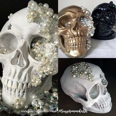 Hand-decorated jewelled skulls from The World of Suzy Homemaker | decorated skull | stylish skull accessory | skull home decor | alternative wedding table accessory