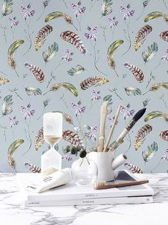 Vintage wallpaper Wall mural Feathers removable by BohoWalls