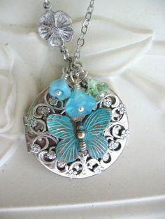 Butterfly, LOCKET, Butterflies, Silver Locket Necklace,Locket,Verdigris Jewelry,Blue,Filifree Locket,Floral Jewelry,Summer Garden,Garden Art
