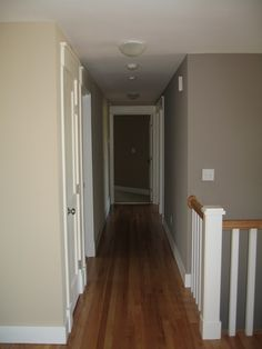 Comparison of Benjamin Moore Ashley Gray and Shaker Beige - similar to main level colors of our house