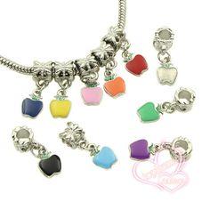 Charms 50pcs/lot Mixed Colors Enamel Apple Pendants Big Hole European Bracelets Beads