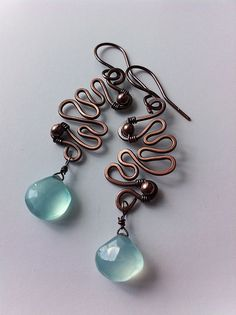 Copper waves with chalcedony beads | Flickr - Photo Sharing! Earrings by Aniko Sandor