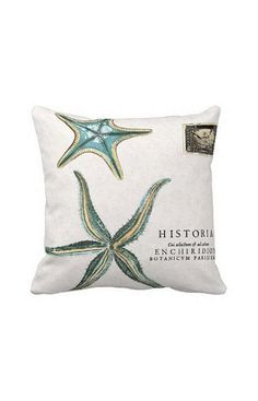 Pillow Cover Beach Decor Turquoise Starfish Cotton and Burlap Pillow Cover