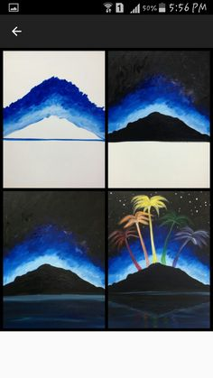 """Evolution of """"Island City"""" painted @ Painting with a Twist Ft. Lauderdale Evolution of """"Island City"""" painted @ Painting with a Twist Ft. Painting Lessons, Diy Painting, Painting & Drawing, Wine And Canvas, Learn To Paint, Art Tutorials, Painting Inspiration, Art Drawings, Pencil Drawings"""