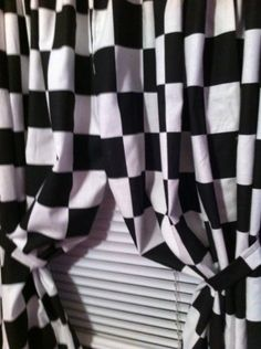 """2 WINDOW CURTAIN PANELS MADE FROM COTTON Nascar Race or Retro Diner Black and White Checkered Flag FABRIC Each panel is 42"""" wide x 63"""" long Handmade in the USA,http://www.amazon.com/dp/B00A3HNEIK/ref=cm_sw_r_pi_dp_R0Vrsb1MBPYDHZGC"""