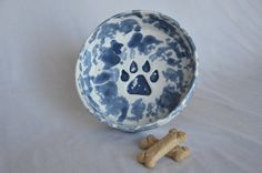 Large white and blue spackleware dog bowl by ThePawteryShop, $39.00