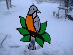 robin/leaves stained glass suncatcher by UpNorthSuncatchers, $18.00