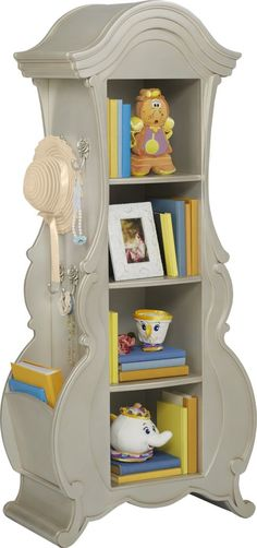 Based on the character of Garderobe from 'Beauty and the Beast,' the Disney Princess bookcase is an enchanting piece to house all of your daughter's favorite fairytales. Crafted with a silver finish, three fixed shelves offer plenty of room for storage or even display. On one side, she'll find a beveled mirror to make dress up a fun and festive experience. On the opposite side, beautiful custom rose carvings feature hooks for jewelry or a coat. An open pocket on the side can accommodate a tablet Cinderella Room, Disney Princess Room, Princess Room Decor, Princess Fairytale, Princess Bedroom Decorations, Disney Room Decorations, Disney Girls Room, Disney Themed Rooms, Disney Bedrooms
