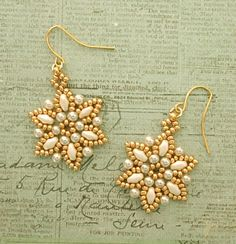 Linda's Crafty Inspirations: Lizbeth Band & Petites Fleurs Earrings Set - Ivory & Gold