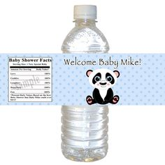 Printable Personalized Panda Bear Bottle Labels Wrappers - Baby Shower Birthday Boy Blue Polka Dots Custom Cute Adorable 1st