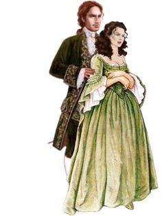 Claire & Jamie Outlander Fan Art, Outlander Season 2, Outlander Series, Outlander Characters, 18th Century Clothing, Caitriona Balfe, Poldark, Diana Gabaldon, Book Tv