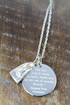 Custom Engraved Gift Idea for Diver Diving Quote Pendant by ShinyLittleBlessings