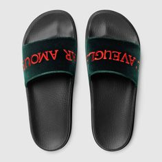 Gucci Velvet slide sandal with embroidery