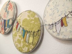 embroidery hoop; thread drawing on pattern fabric