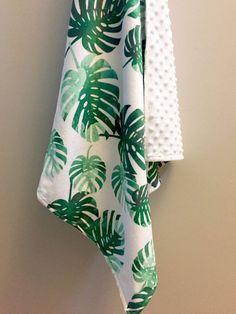 Tropical palms minky baby blanket  emerald green watercolor   tropical nursery   gender neutral baby shower gift   by WilderAndBean