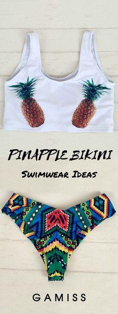 U Neck Pinapple Bikini Halter Bikini, Bikini Swimwear, Bikini Set, Women's Bikinis, Pineapple Bikini, Beach Clothes, Cute Swimsuits, Coconuts, Girls Be Like