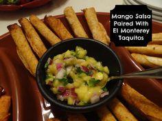 Mango Salsa Recipe! Paired With El Monterey Taquitos! #EASY #DIY #Recipe #Appetizer #Mango #Salsa #BIGGAME #party #Sponsored