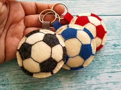 Wool felt football keychain, Soccer keychain This can be a perfect gift for any Football fan. Also great Christmas present for husband, boyfriend, son or cousin. This listing is for 1 keychain Handmade from wool felt with high precision and great care. Please Note! Keychain is decorated on