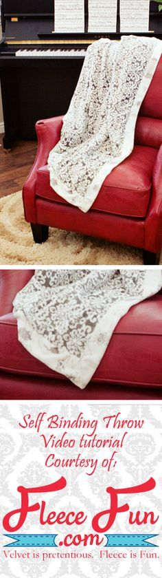 Two pieces of fabric become one elegant throw.  Step by step video tutorial and written instructions make it easy to follow.
