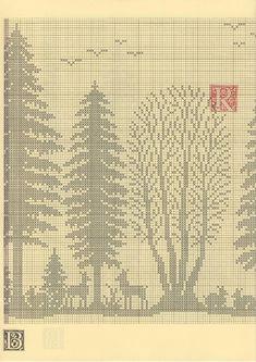 Paisagem - A Floresta de Fanès - Esquemas de Ponto de Cruz