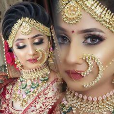 Stunning Bridal Makeover! PC @amit_hair_makeup_artist #bridalmakeup #bridemakeup #indianbride #makeup #makeupartist #mua #indianwedding… Bridal Hairstyle Indian Wedding, Indian Wedding Bride, Asian Wedding Dress, Indian Bridal Outfits, Bridal Hair Updo, Indian Wedding Hairstyles, Bridal Makeup Pictures, Hd Bridal Makeup, Bridal Makeup Looks