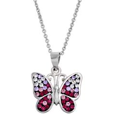 Crystal Butterfly Pendant Necklace ($20) ❤ liked on Polyvore featuring jewelry, necklaces, purple, chain necklace, butterfly pendant necklace, purple butterfly necklace, purple butterfly pendant and crystal butterfly necklace
