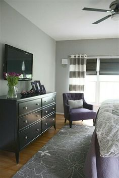 Purple and grey bedroom. I seriously just bought that comforter at Target!