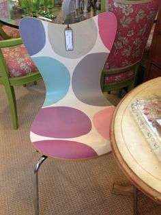 Cute, contemporary, perfect for a little girls room or a big girls kitchen table. www.shopthecourtyard.com