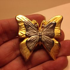 Vintage Signed PD Premier Designs 2 Tone BUTTERFLY BROOCH Pin Costume Jewelry #PremierDesigns