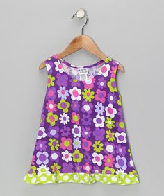 Look what I found on #zulily! Purple Fab Floral Ruffle Tank - Infant, Toddler & Girls #zulilyfinds