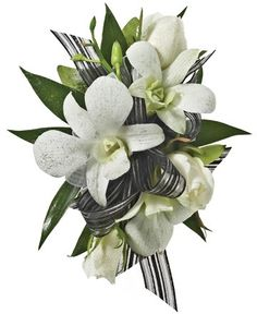 DECORATED ROSE AND WHITE ORCHIDS CORSAGE - A corsage with three white sweetheart roses and three white dendrobium orchids decorated with a black & silver bow. Designed as a wrist corsage, but can be converted to a pin on corsage with included pins. Item #4414.