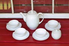 Vintage Azberg Coffee Pot Four Cups and Saucers by PanchosPorch, $40.00