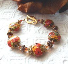 One of a Kind Handmade 18K Vermeil Lampwork & Crystal Plus Size 9 inch Bracelet #Handmade #Lampwork