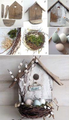 A bird house full of pastel eggs makes a pretty focal point