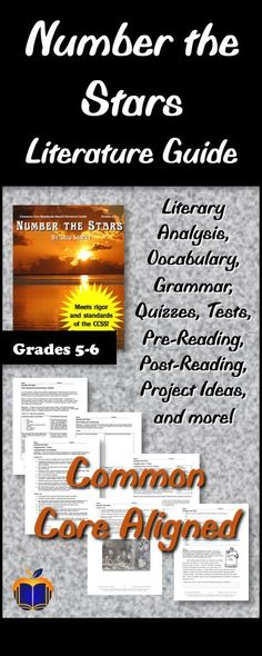 This Literature Guide for Number the Stars by Lois Lowry has been written to focus on time-tested best practices for teaching, and is fully aligned to the Common Core State Standards, the NCTE/IRA English Language Arts Standards, and the Texas TEKS for grades 5 and 6. Recommended for whole class novel study, but can also be used for small groups, book clubs, literature groups, etc. 123 pages