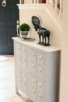 Ikea Shoe Storage turned faux Card Catalog! Great IKEA HACK and cheap alternative for the real deal.