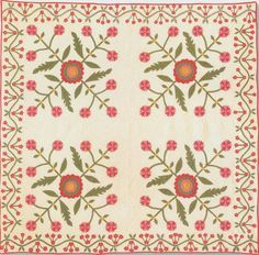 Lovely blocks and border. Would have looked better if space between blocks and border had been at least equal to that between blocks. Rose Applique, 1860. Ohio.